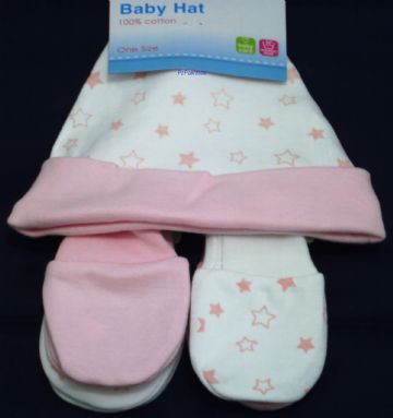 Baby 100% Cotton Beanie Hat & Mitts Pink